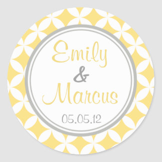 Yellow & Grey Quatrefoil Favor Sticker