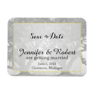 Yellow Grey Silver Oak Mossy Wedding Save the Date Magnet