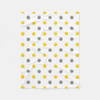 Yellow Grey Watercolor Polka Dots Fleece Blanket
