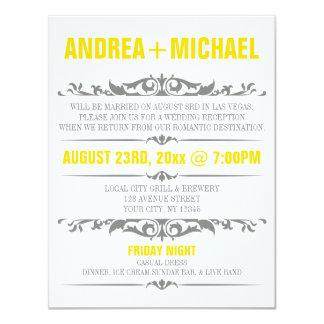 Yellow & Grey Wedding Reception ONLY Invitations