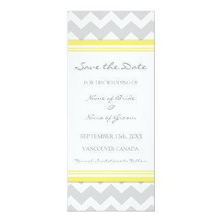 "Yellow Grey Wedding Save the Date Card 4"" X 9.25"" Invitation Card"