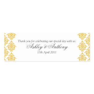 Yellow Grey White Damask Wedding Favour Tags Mini Business Card