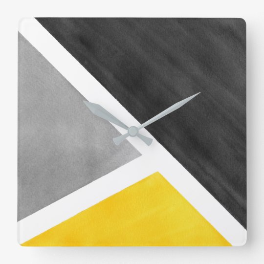 Yellow Grey White Watercolor Block Square Wall Clock