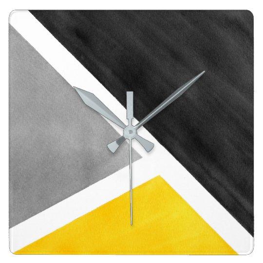 Yellow Grey White Watercolor Block Wall Clocks