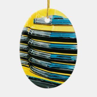 Yellow Grill Ceramic Oval Ornament
