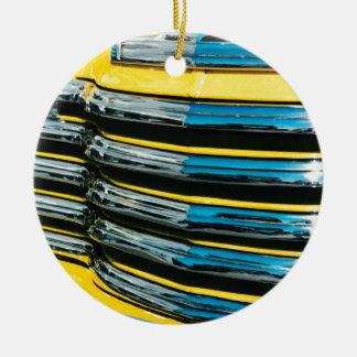 Yellow Grill Round Ceramic Ornament