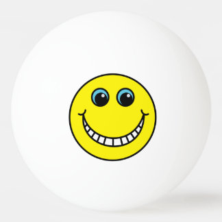 Yellow Grinning Smiley Face Ping-Pong Ball
