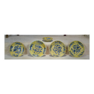 Yellow ground dishes painted in underglaze poster
