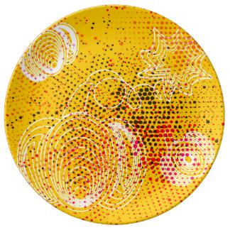 Yellow grunge rustic halftones with pumpkins porcelain plate