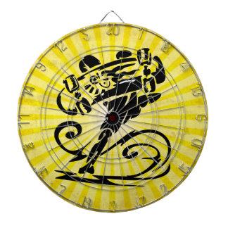 Yellow Grunge Skateboard Dartboard