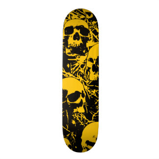 Yellow Grunge Skulls Skateboard