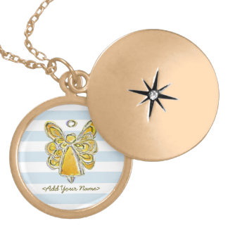 Yellow Guardian Angel With Stripes Gold Lockets