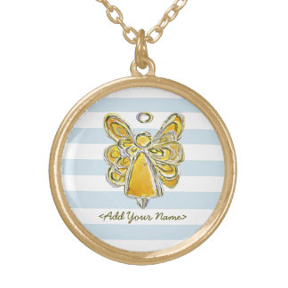 Yellow Guardian Angel With Stripes Gold Necklaces