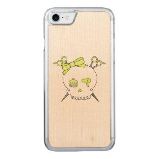 Yellow Hair Accessory Skull -Scissor Crossbones Carved iPhone 7 Case