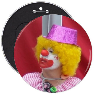 YELLOW HAIRED CLOWN BADGE 6 INCH ROUND BUTTON