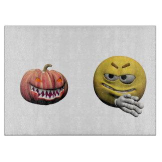Yellow halloween emoticon or smiley boards