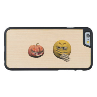 Yellow halloween emoticon or smiley carved maple iPhone 6 case