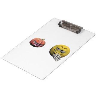 Yellow halloween emoticon or smiley clipboard