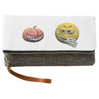 Yellow halloween emoticon or smiley clutch