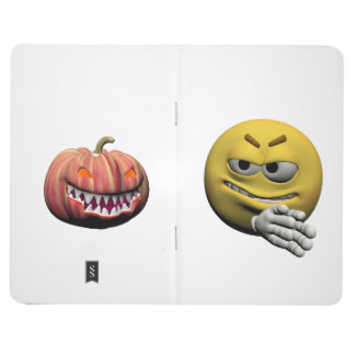 Yellow halloween emoticon or smiley journal