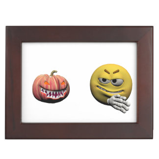 Yellow halloween emoticon or smiley keepsake box