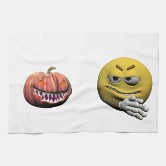 Yellow halloween emoticon or smiley kitchen towel