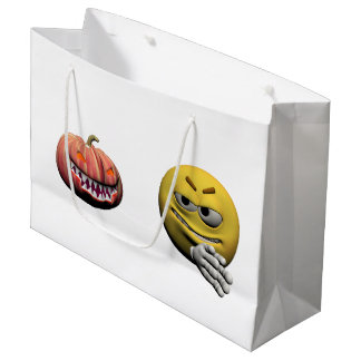 Yellow halloween emoticon or smiley large gift bag