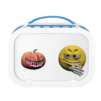 Yellow halloween emoticon or smiley lunch box