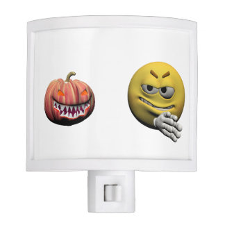Yellow halloween emoticon or smiley night light