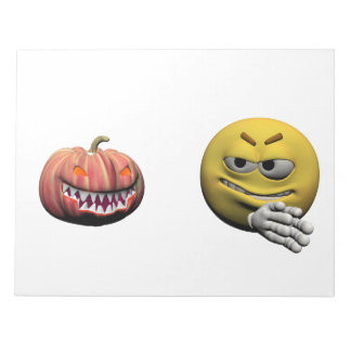 Yellow halloween emoticon or smiley notepad