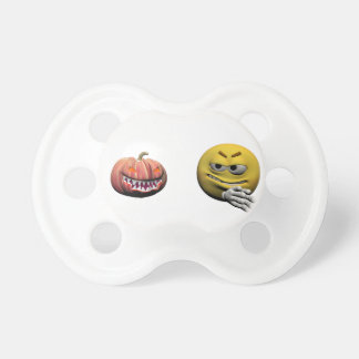 Yellow halloween emoticon or smiley pacifier
