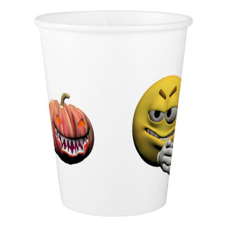 Yellow halloween emoticon or smiley paper cup
