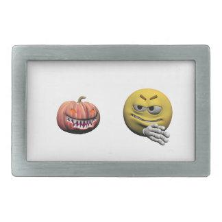 Yellow halloween emoticon or smiley rectangular belt buckle