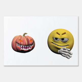 Yellow halloween emoticon or smiley sign