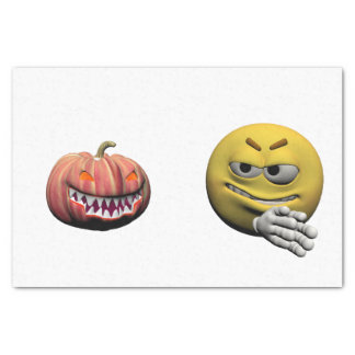 Yellow halloween emoticon or smiley tissue paper