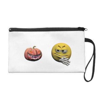 Yellow halloween emoticon or smiley wristlet