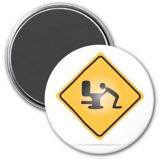 Yellow hangover warning sign round magnet