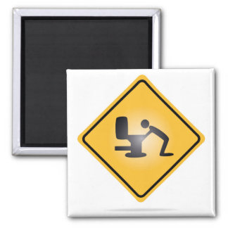 Yellow hangover warning sign square magnet