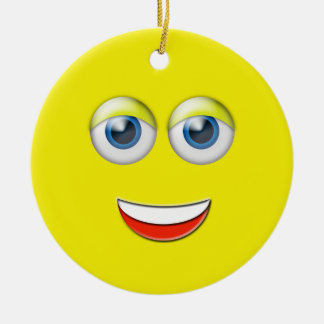 Yellow Happy Face Emoji Custom Name Ceramic Ornament