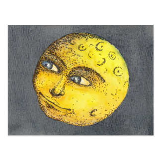 Yellow Happy Moon Face Postcard