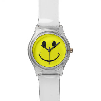 Yellow Happy Smiley Face 70's Clear Lucite Watch