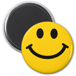 Yellow happy smiley face magnet