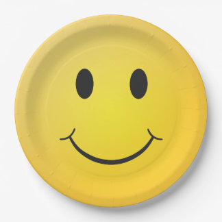 Yellow happy smiley paper plate