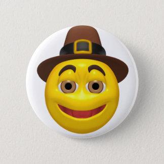 Yellow happy thanksgiving pilgram 2 inch round button