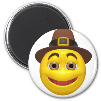 Yellow happy thanksgiving pilgram magnet