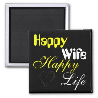 Yellow Happy Wife Happy Life Magnet