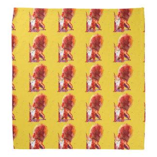 Yellow headscarf with handpainted squirrels bandana