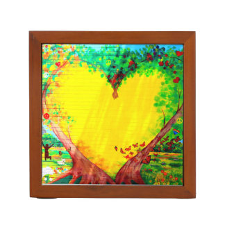yellow heart and stargazer lily desk organizer