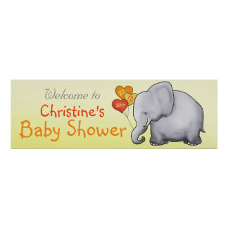 Yellow Heart Balloons Elephant Neutral Baby Shower Poster