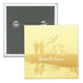 Yellow Heart Beach Wedding 2 Inch Square Button